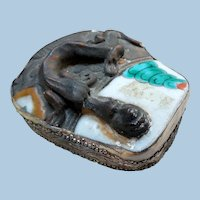 Vintage Chinese Box, Silver & Porcelain, Serpent