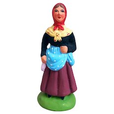 Santons Marcel Carbonel Figurine, Woman Spinning Wool