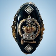 Vintage Order of the Amaranth Past Royal Matron's Gold and Diamond Ring