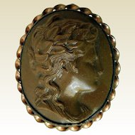 Antique Hand-Carved Lava Cameo, Ca 1870
