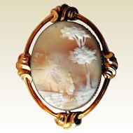 Victorian Carved Shell Cameo, Rebecca At The Well, Gold-Filled
