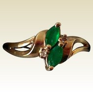 Vintage Estate Ring, 14K Gold, Emeralds, Diamonds