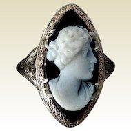 Antique Edwardian 14K White Gold Filigree Stone Cameo Ring