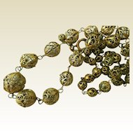 Early Filigree Necklace, .833 Silver, Gold Wash