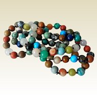 Vintage Natural Stone Beaded Necklace, 32 Inches