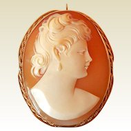 Vintage Carved Shell Cameo in 14K Gold