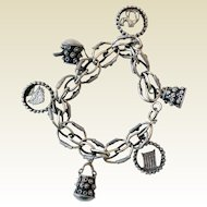 Vintage Charm Bracelet, Silver-Tone, Middle Eastern