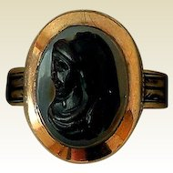 Antique Child's Sardonyx Carved Stone Cameo Ring, Rose Gold