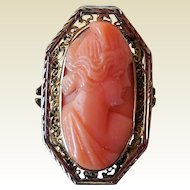 Antique Victorian 14K Gold and Carved Coral Cameo Ring