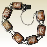 Vintage Sterling Silver and Carved Shell Cameo Bracelet, 7 Days