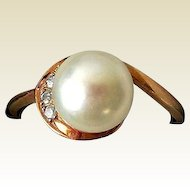 Estate 14K Gold, Diamonds, & Cultured Pearl Ring