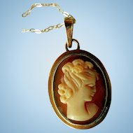 Antique Carved Shell Cameo Necklace, 14K Gold