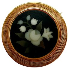 Antique Pietra Dura Brooch, 10K Gold Setting