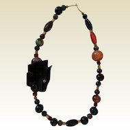 Vintage Necklace, Colorful Agate & Carved Horn