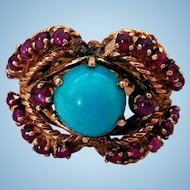 Vintage 14K Gold, Turquoise & Ruby Cocktail Ring