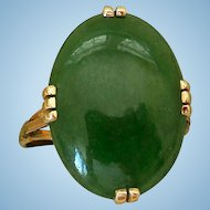 Vintage 18K Yellow Gold, Jade Cabochon Cocktail Ring
