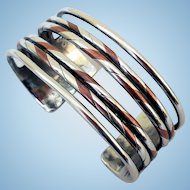 William Spratling Sterling Silver, Copper, Cuff Bracelet, 1940s