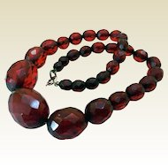 Vintage Cherry Amber Choker, Sterling Clasp