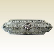 Edwardian 14K White Gold, Diamond Filigree Brooch