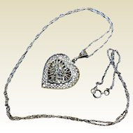 Vintage Sterling Silver Filigree Heart Necklace
