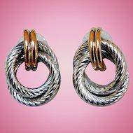 Vintage Sterling Silver & 14K Gold Earrings, Signed