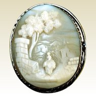 "Antique Carved Shell ""Rebecca at the Well"" Cameo, Gold-Filled"