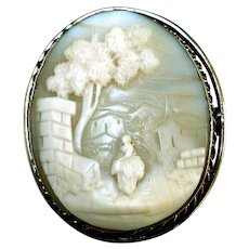 """Antique Carved Shell """"Rebecca at the Well"""" Cameo, Gold-Filled"""