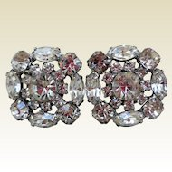 Fabulous Rhinestone Earrings, 1950s Clip-Backs