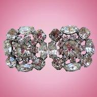 Fabulous Rhinestone Earrings, 1950s Clip-Backs