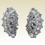Mid-Century Fabulous Rhinestone Earrings, Clip-Backs
