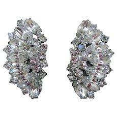 Mid-Century Fabulous Rhinestone Earrings, Clip-Backs