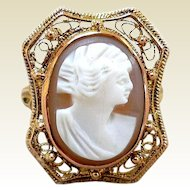 Exquisite Antique Carved Shell Cameo Ring, 10K Gold Filigree
