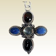 Sterling Silver Pendant, Garnets, Lapis, Moonstone, Arts & Crafts
