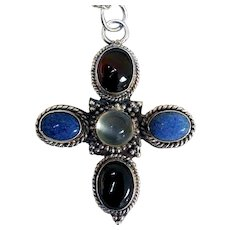 Sterling Silver Pendant, Garnets, Lapis, Moonstone, Arts & Crafts