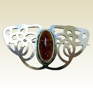 Art Nouveau Sterling Silver & Amber Pin