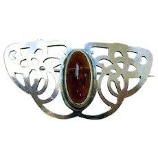 Art Nouveau Sterling Silver & Amber Pin