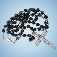 Vintage Sterling Silver & Black Glass Beads Rosary
