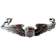 WWII Army Air Force Pilot Wings Sweetheart Sterling Bracelet