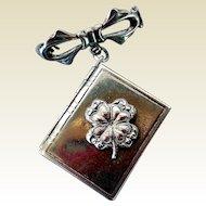 Vintage Sterling Silver Book Locket Pin with Shamrock