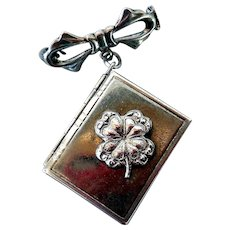 Vintage Sterling Silver Book Locket Pin with Shamrock
