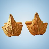Vintage Cuff Links, Ivy Leaf