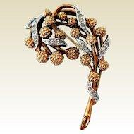 Vintage Rhinestone Brooch, Floral by Panetta