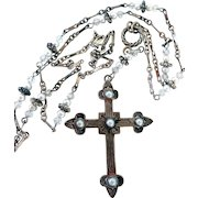 Vintage Sterling Silver Religious Cross Pendant Necklace, by Raymond Coriz