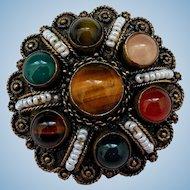 Vintage Etruscan Revival Gemstone Vermeil Brooch, Israel