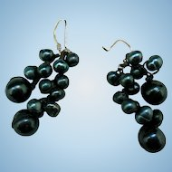 Vintage Fresh Water Pearl Earrings, Grape Bunches, Sterling Silver