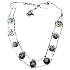 Vintage Sterling Silver and Rhinestone Necklace/Choker