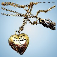 Vintage Child's Gold-Filled Locket Necklace