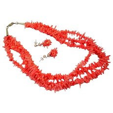 Vintage Natural Salmon Branch Coral Triple Necklace & Earrings