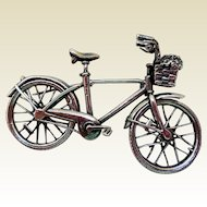 Vintage Sterling Silver Bicycle Pin
