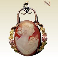 Vintage Carved Shell, Gold-Filled, Cameo Pendant Necklace